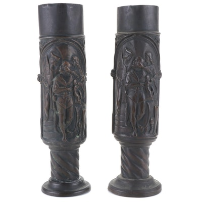 Trench Art Embossed Metal Artillery Shell Vases with Medieval Scenes