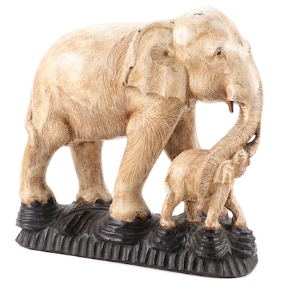 Carved Wooden Elephant Figurine, 20th Century