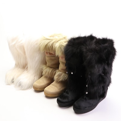 Tecnica Après Ski Boots in Calf Hair, Goat Hair, and Other Fox Fur Trimmed Boots