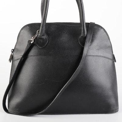 Furla Domed Handbag in Black Goatskin with Detachable Shoulder Strap