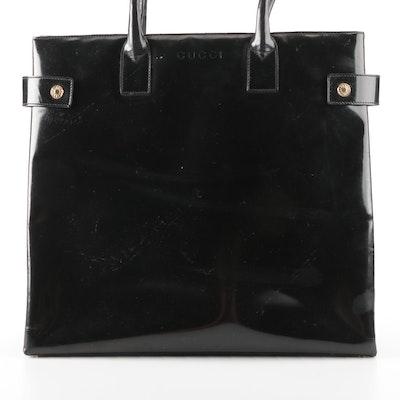 Gucci Tote Bag in Black Glazed Leather