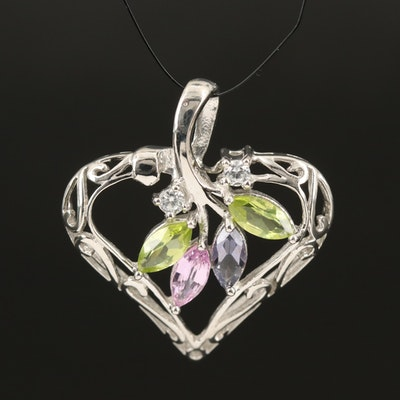 Sterling Gemstone Heart Pendant with Peridot and Sapphire