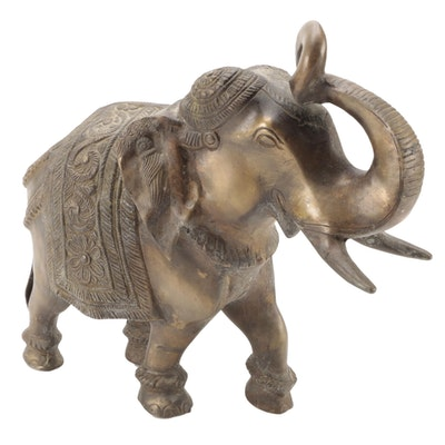 Thai Style Cast Brass Elephant Figurine