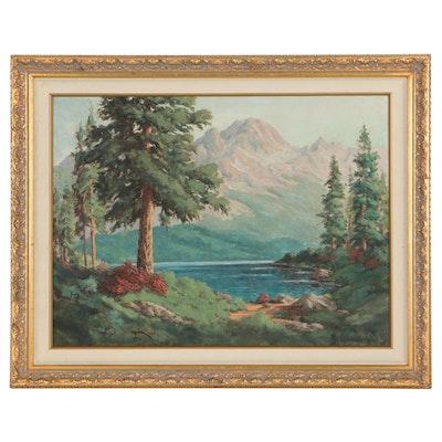 "George Horsburgh Oil Painting ""Fallen Leaf Lake,"" Mid-20th Century"