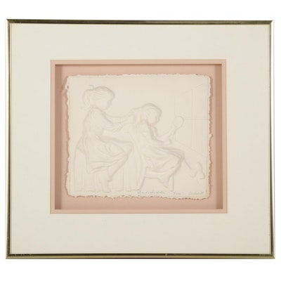 """Sally and Walt Carlson Cast Paper Relief """"Braids for Sister,"""" 1989"""