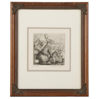 Houlgate Davenport Etching of Hares, Mid-Late 20th century