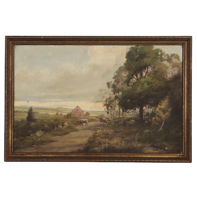 Landscape Oil Painting of Farm, Early 20th Century