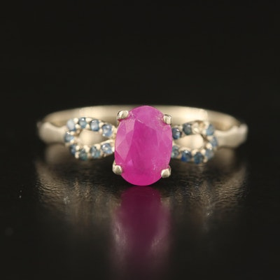 14K Ruby and Sapphire Infinity Ring