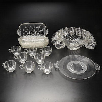 Hazel Atlas Glass Punch Bowl, Cups and Other Serveware