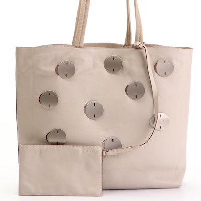 Prada Tote in Leather with Metal Circle Accents