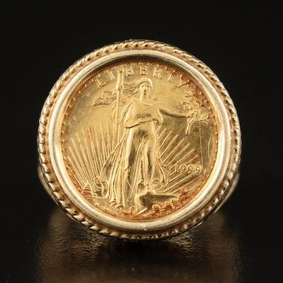 1999 American Gold Eagle Bullion Coin in 14K Filigree Ring Setting