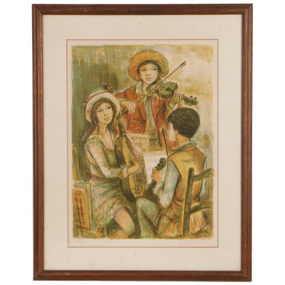 """Jacques Lalande Chromolithograph """"Trio Musical,"""" Mid-20th Century"""