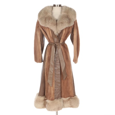 Mink Fur and Leather Full-Length Coat with Fox Fur Trim from Lowenthal's
