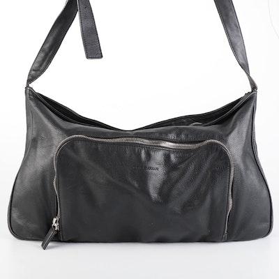 Giorgio Armani Zip Shoulder Bag in Black Leather with Exterior Zip Pocket