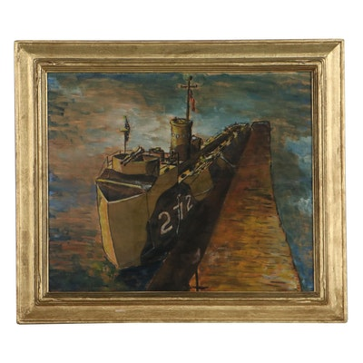 Barse Miller Watercolor Painting of Naval Ship, Mid-20th Century