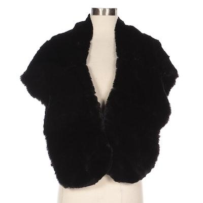 Dyed Black Sheared Muskrat Fur Stole