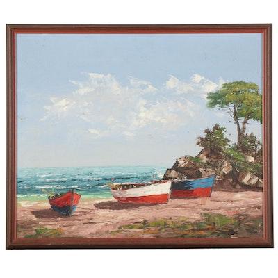 Rowboats on Coastal Beach Oil Painting, Mid-Late 20th Century