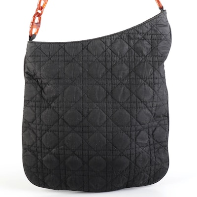 Christian Dior Shoulder Bag Cannage Quilted Black Nylon with Acetate Chain Strap
