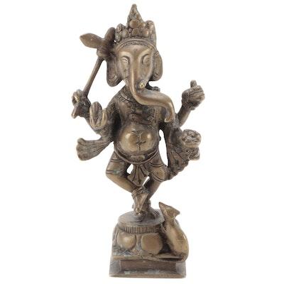 Indian Bronze Murti of Dancing Ganesha with Rat Vahana