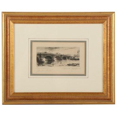 "Ernst Zipperer Etching ""London Bridge,"" Early-Mid 20th Century"