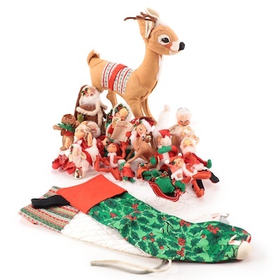 Annalee Mobilite Santa, Mrs Claus and Other Christmas Dolls and Stockings