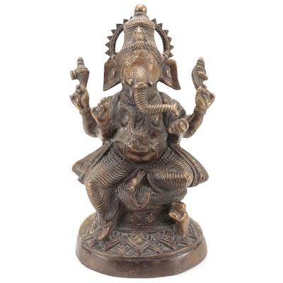 Indian Bronze Murti of Seated Ganesha with Rat Vahana