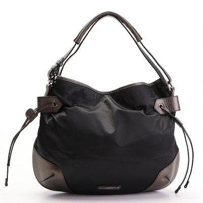 Burberry Hobo Shoulder Bag in Black Nylon with Metallic Leather