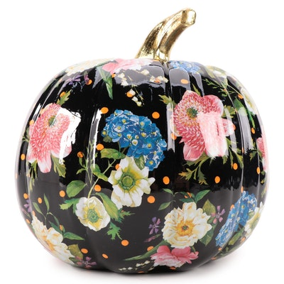 """MacKenzie-Childs """"Flower Market"""" Painted Black Pumpkin"""