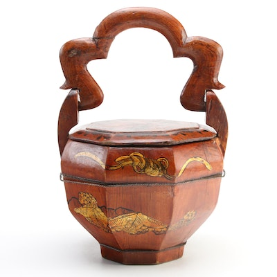 Chinese Hand-Painted Wooden Wedding Basket