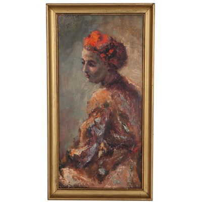 Expressionist Style Oil Portrait of Woman, Mid-20th Century