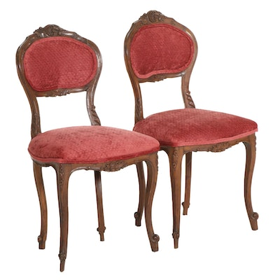 Pair of Louis XV Style Carved Fruitwood Side Chairs, Early to Mid 20th Century
