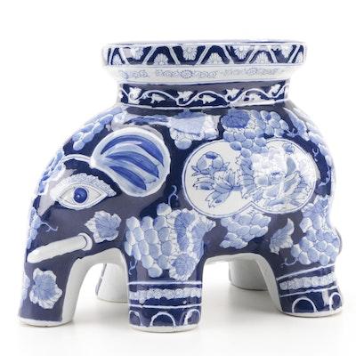Chinese Blue and White-Glazed Ceramic Elephant Garden Stool