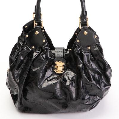 Louis Vuitton Mahina Surya Bag in Black Perforated Monogram Patent Leather