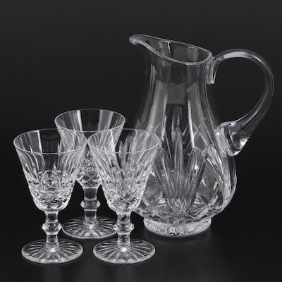 """Waterford """"Tramore"""" and """"Brookside"""" Crystal Wine Glasses and Pitcher"""