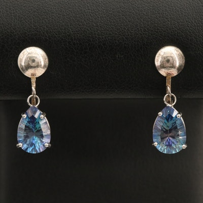 14K Gold and Sterling Silver Mystic Topaz Drop Earrings