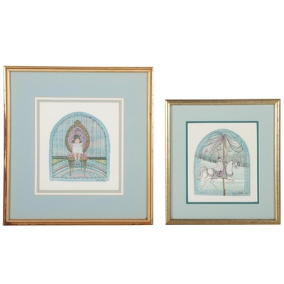"""Patricia Buckley Moss Offset Lithographs """"Maid Marion"""" and """"Party Dress,"""" 1980s"""
