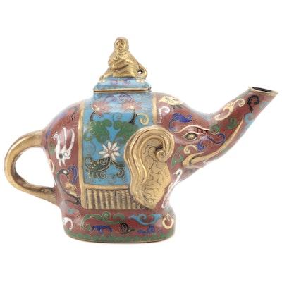 Chinese Cloisonné Elephant Form Teapot