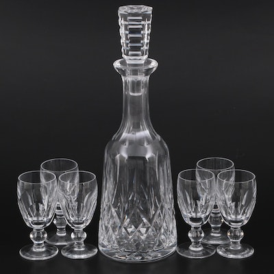 """Waterford """"Lismore"""" and """"Kathleen"""" Crystal White Wine Glasses and Decanter"""