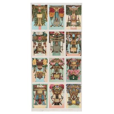 Johnston Ayers Art Nouveau Zodiac Birthstone Postcards
