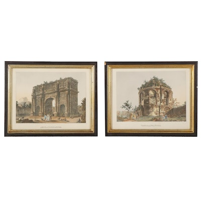 Hand-Colored Photogravure and Rotogravure of Roman Landmarks, Early 20th Century