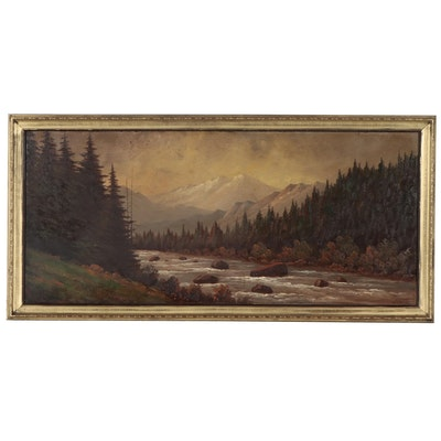 Lorenz Griffith Landscape Oil Painting, Early 20th Century