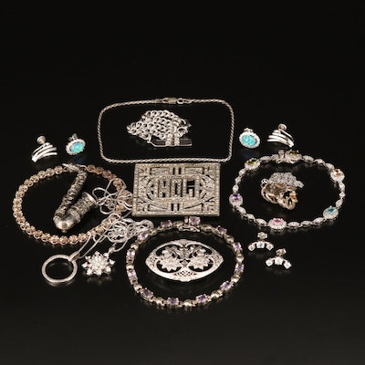Sterling Grouping Including Judith Jack, Glass, Marcasite and Cubic Zirconia