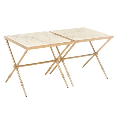 Blink Home Brass Stone Top Side Tables