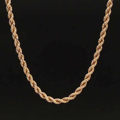 British 9K French Rope Chain Necklace