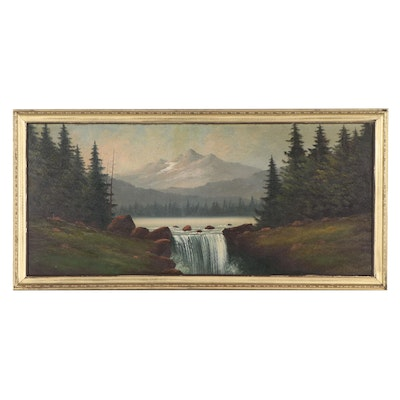 Lorenz Griffith Landscape Oil Painting of Waterfall, Mid-20th Century