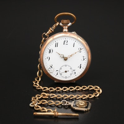 800 Silver Pin Set Pocket Watch and Chain Fob