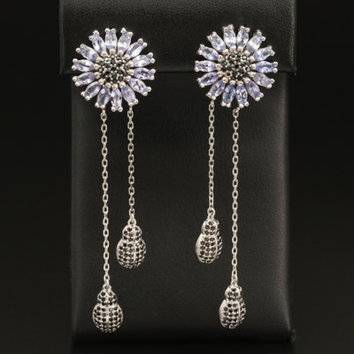 Sterling Tanzanite and Spinel Flower Earrings with Ladybug Accents