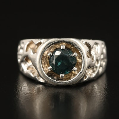 14K Garnet Openwork Ring