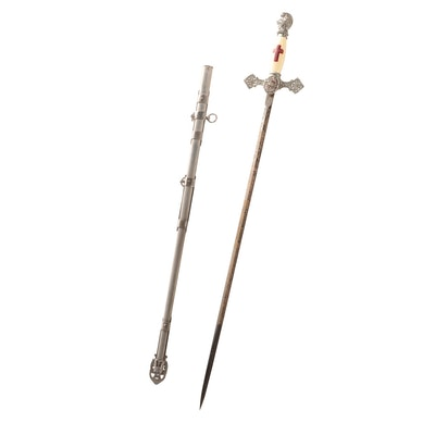 Cincinnati Regalia Co. Knights Templar Ceremonial Sword with Scabbard, 1900s
