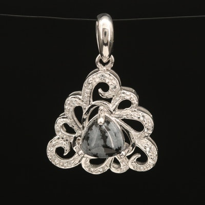 Sterling Pendant Set with Snowflake Obsidian Surrounded by Topaz Accents